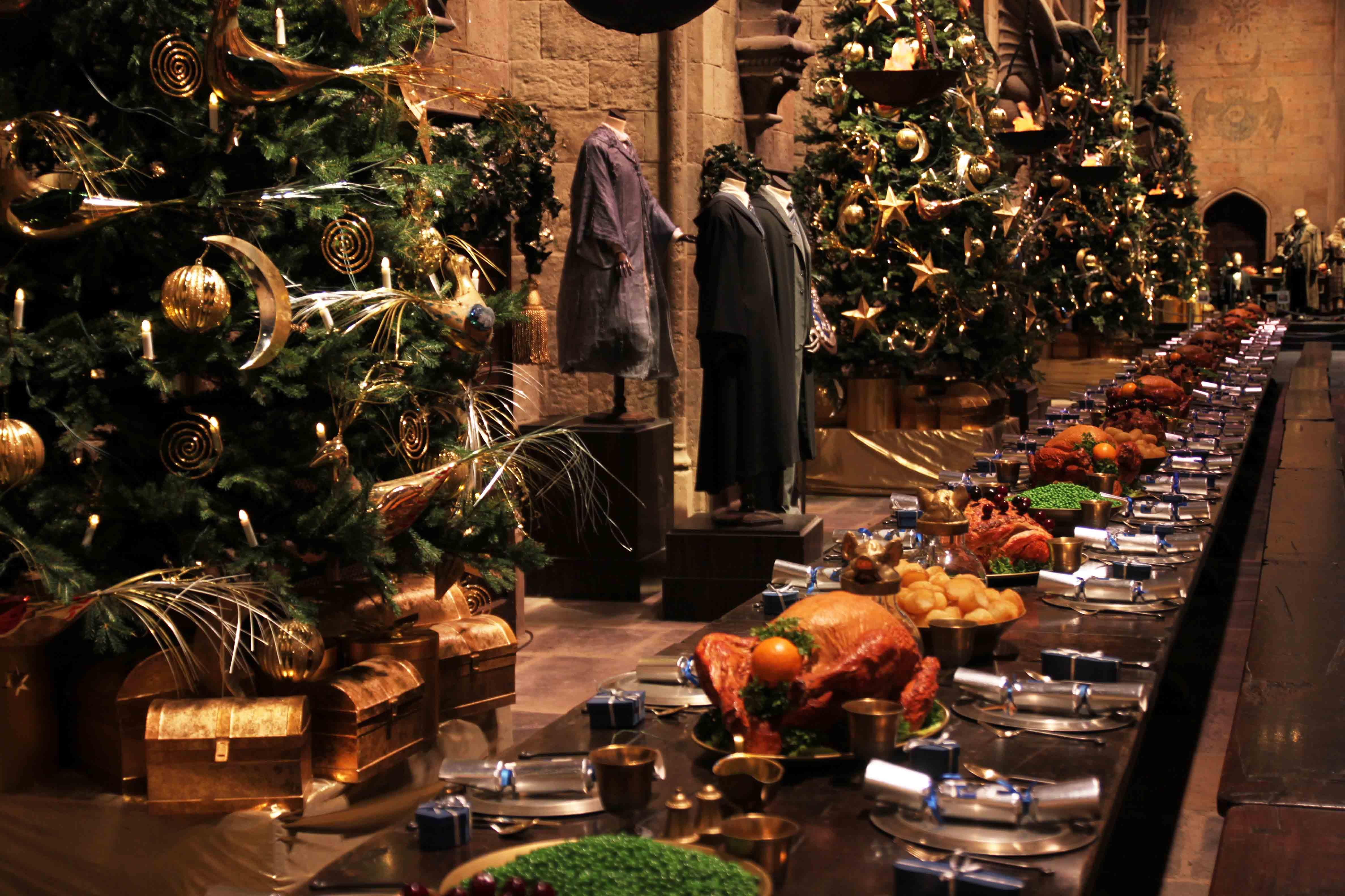 Ecco la sala grande addobbata per natale portus for Salle a manger harry potter